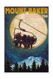 Mt. Baker, Washington - Ski Lift and Full Moon Prints by  Lantern Press