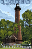 Currituck Beach Lighthouse Day Scene - Outer Banks, North Carolina Print by  Lantern Press