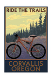 Corvallis, Oregon - Bicycle Ride the Trails Prints