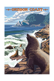 Sea Lions and Lighthouse - Oregon Coast Posters by  Lantern Press