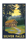 Silver Falls State Park, Oregon - Cabin in Woods Poster by  Lantern Press
