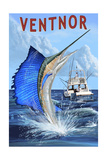 Ventnor, New Jersey - Sailfish Deep Sea Fishing Posters by  Lantern Press