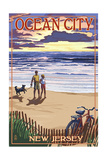 Ocean City, New Jersey - Beach and Sunset Prints