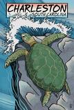 Charleston, South Carolina - Sea Turtles Woodblock Print Posters van  Lantern Press