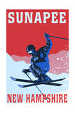 Sunapee, New Hampshire - Colorblocked Skier Art by  Lantern Press