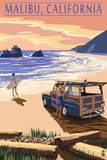Malibu, California - Woodies on the Beach Print by  Lantern Press