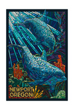 Newport, Oregon - Bottlenose Dolphins Mosaic Prints by  Lantern Press