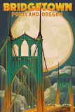Portland, Oregon - Bridgetown and Full Moon Poster by  Lantern Press