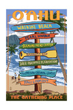 Waikiki Beach, Oahu, Hawaii - Sign Destinations Prints by  Lantern Press