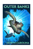 Outer Banks, North Carolina - Sea Turtles Diving Kunst van  Lantern Press