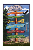 Lopez Island, Washington - Signpost Destinations Print by  Lantern Press