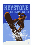 Keystone, Colorado - Colorblocked Snowboarder Prints by  Lantern Press