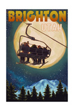 Brighton, Utah - Ski Lift and Full Moon Prints by  Lantern Press