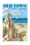 Old Town - San Diego, California - Sandcastle Print