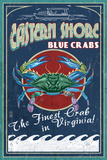 Blue Crabs Vintage Sign - Eastern Shore, Virginia Prints by  Lantern Press