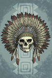 Indian Chief Skull and Headdress Print