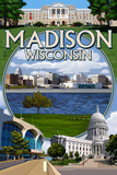 Madison, Wisconsin - Montage Scenes Prints by  Lantern Press