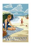Wildwood, New Jersey - Woman on the Beach Print by  Lantern Press