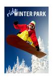 Winter Park, Colorado - Snowboarder Art by  Lantern Press