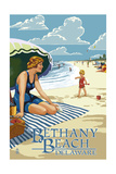 Bethany Beach, Delaware - Woman on Beach Posters