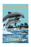 Hollywood, Florida - Dolphins Jumping Prints by  Lantern Press