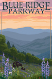 Blue Ridge Parkway - Bear Family and Spring Flowers Print by  Lantern Press