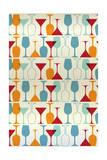Wine and Martini Glass Pattern Prints by  Lantern Press