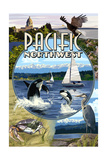 Pacific Northwest - Montage Posters by  Lantern Press