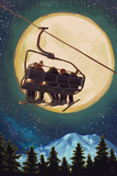 Ski Lift and Full Moon Art by  Lantern Press