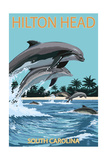 Hilton Head, South Carolina - Dolphins Jumping Prints by  Lantern Press
