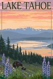 Lake Tahoe - Bear Family and Spring Flowers Plakater af  Lantern Press