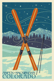 Aspen - Snowmass, Colorado - Crossed Skis Art by  Lantern Press