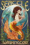 Seattle, Washington - Mermaid Scene Print by  Lantern Press