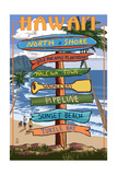 North Shore, Oahu, Hawaii - Sign Destinations Print by  Lantern Press