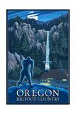 Oregon Bigfoot Country and Multnomah Falls Prints