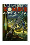 Salt Lake City, Utah - Mormon Zombie Apocalypse Art by  Lantern Press