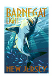 Barnegat Light, New Jersey - Stylized Shark Posters by  Lantern Press