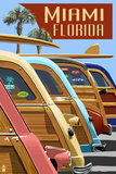Miami, Florida - Woodies Lined Up Prints by  Lantern Press