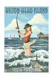 Hilton Head Island, South Carolina - Pinup Surfer Fishing Prints by  Lantern Press
