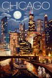 Chicago, Illinois - Skyline at Night Prints by  Lantern Press