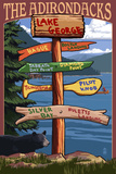 The Adirondacks - Lake George, New York - Sign Destinations Prints by  Lantern Press