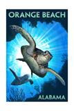Orange Beach, Alabama - Sea Turtles Diving Schilderij van  Lantern Press