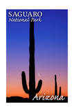 Saguaro National Park, Arizona - Sunset and Moon Crescent Prints by  Lantern Press