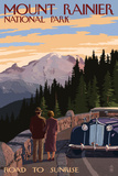 Mount Rainier National Park - Road to Sunrise Art by  Lantern Press