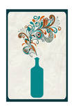 Wine Bottle and Swirls Poster