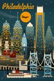 Philadelphia, Pennsylvania - Retro Skyline Kunstdruck von  Lantern Press