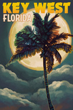 Key West, Florida - Palms and Moon Posters by  Lantern Press