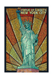 Statue of Liberty Mosaic - New York City, New York Ensiluokkainen giclee-vedos tekijänä  Lantern Press