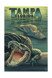 Tampa, Florida - Alligators Art by  Lantern Press