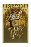 Arizona - Day of the Dead - Skeleton Holding Sugar Skull Posters by  Lantern Press